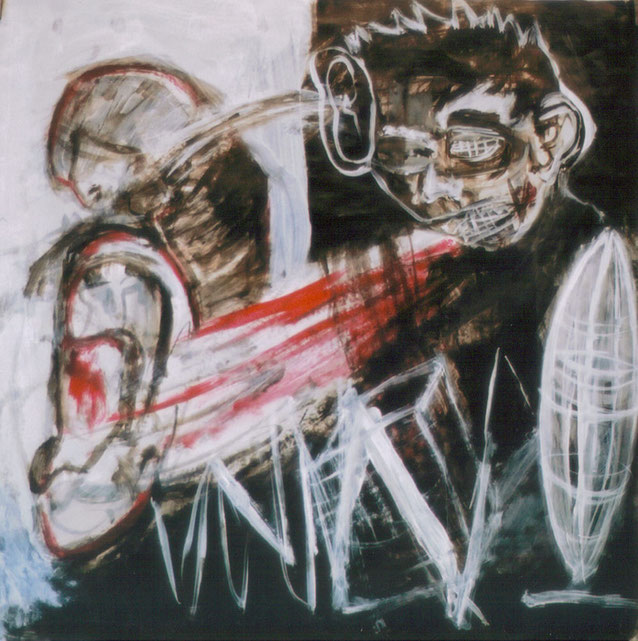 Discours de sourds / 2002 / Acrylique, markers et craies sur papier / 50x50 cm