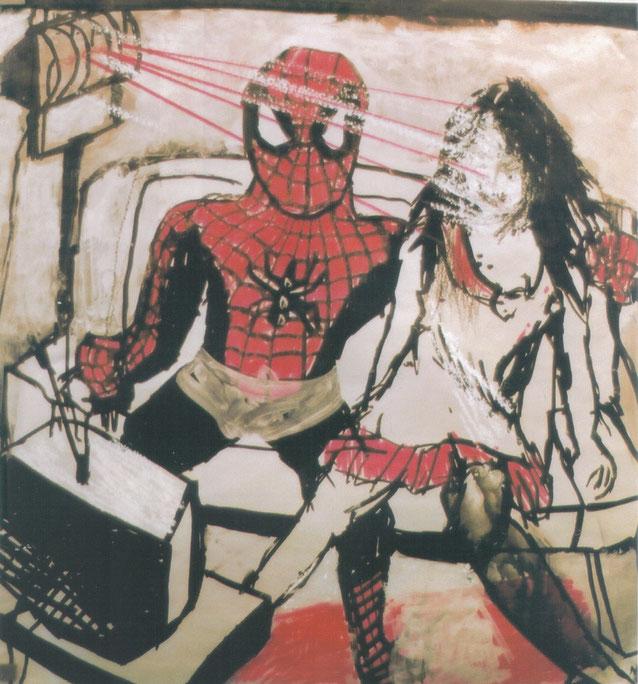 TV with Spiderman / 2002 / Acrylique, markers et craies sur papier /  50x50 cm / collection particulière
