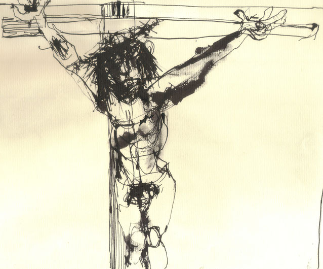 Crucifixion V / 2000 / Encre de Chine sur papier / Collection privée