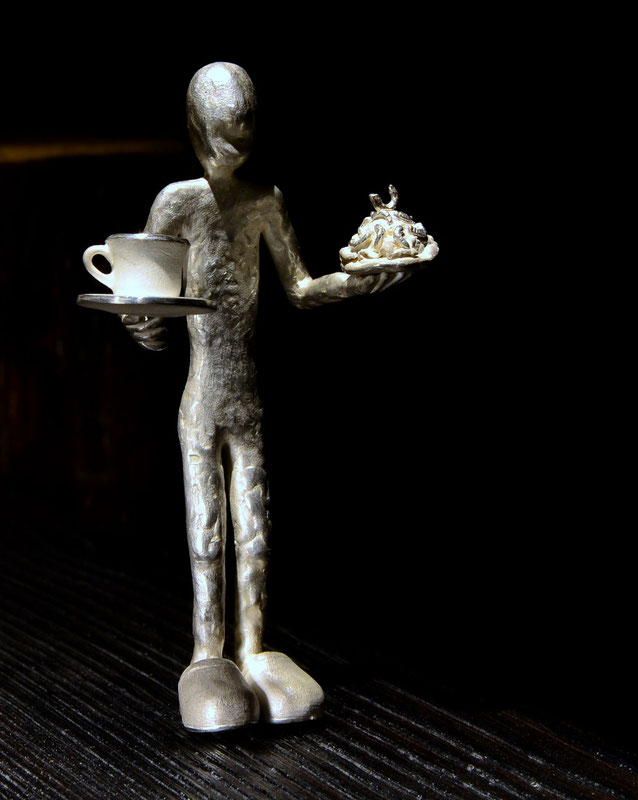 Fika Swedish coffee time sculpture  silver and wood artist  Holger Schulz Sweden