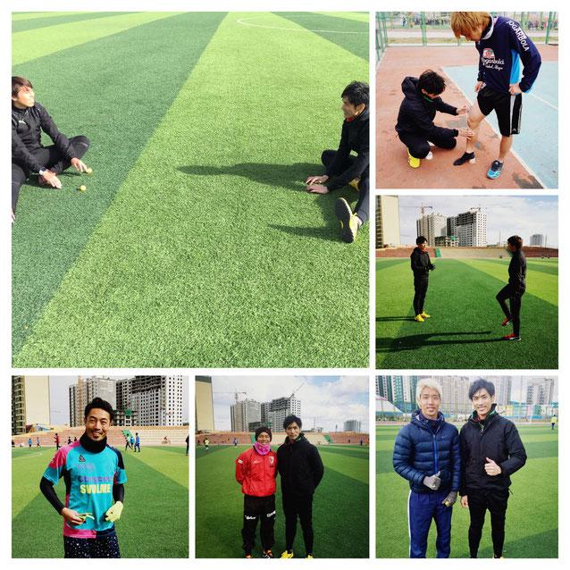 海外現地にてプロサッカー選手へのサポート時の写真