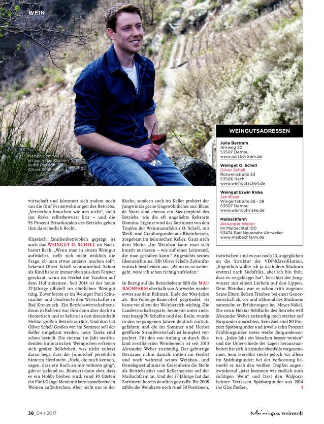 Meiningers Weinwelt Magazin Oliver Schell 2017 Jungwinzer Ahr