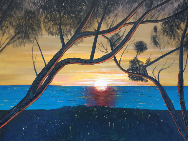 """Leaping Sun"" 76cm x 61cm Acrylic on canvas $250 (excluding freight)"