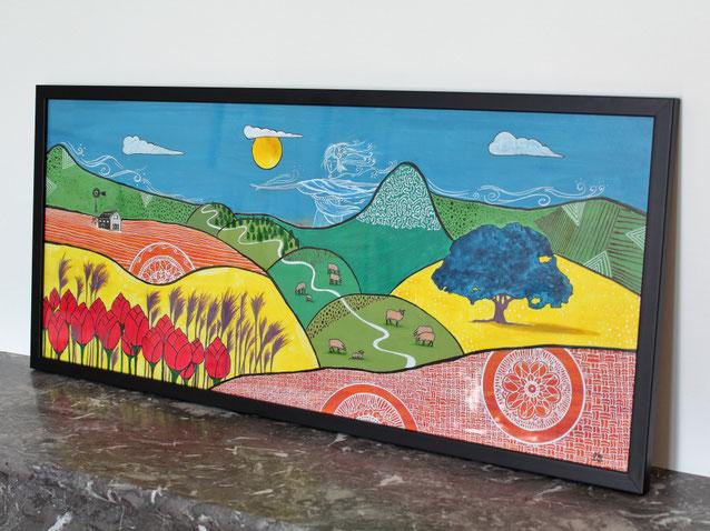 Peinture encres paysage montagne et Sylphide