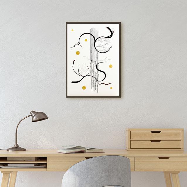 Peinture art abstrait encre de Chine