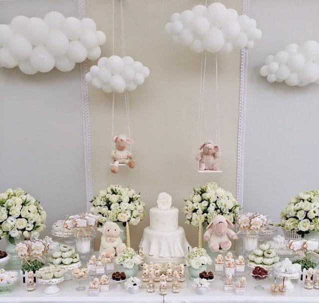 nube de globos para baby shower