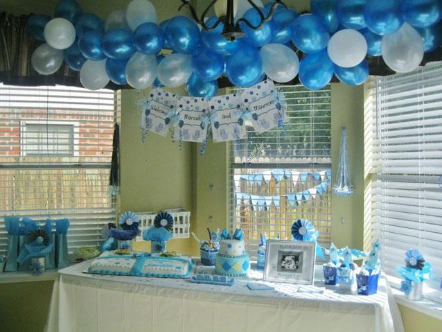mesa de dulces para baby shower de niño