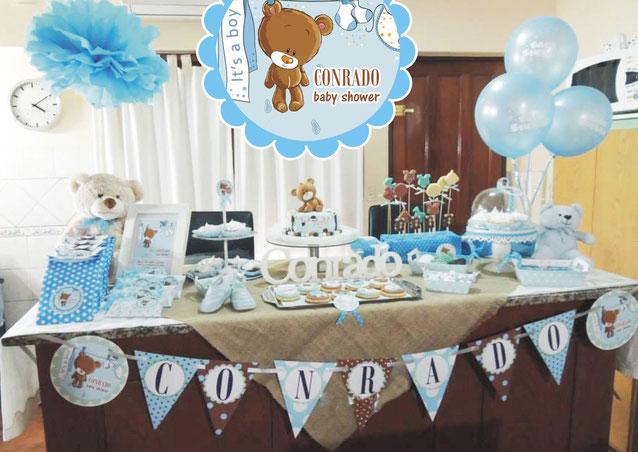 Mesa de dulces baby shower de ni o decoracion para fiestas for Como decorar mesa de postres para baby shower