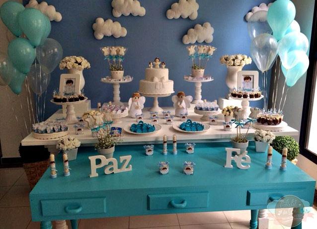 mesa de dulces bautizo de niño