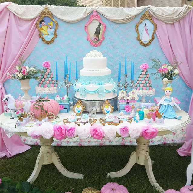 mesa de dulces para cumpleaños de niña