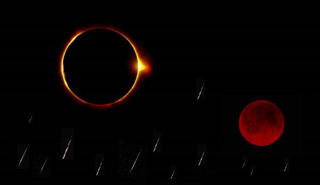 La 4ème sonnerie de trompette annonce que le soleil, la lune et les étoiles vont s'obscurcir rappelant ainsi les prophéties de Jésus (dans les Evangiles et l'Apocalypse) et des prophètes Joël, Amos, Esaïe, Sophonie sur le grand Jour de Jéhovah Dieu.