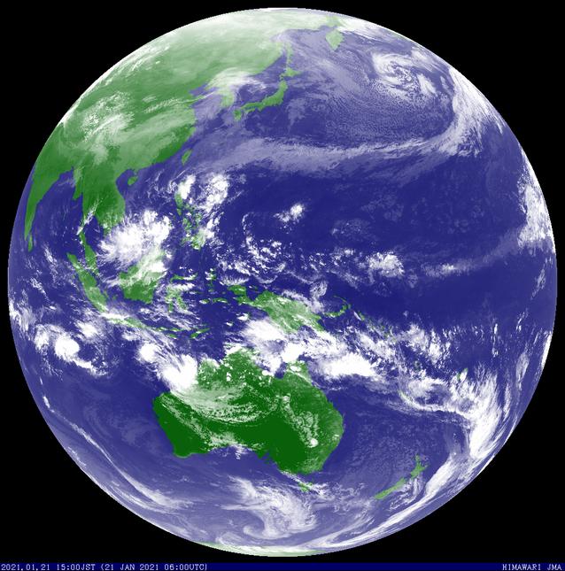 Colourised satellite image showing Tropical Low 10U off the north Western Australia coast 21 January 2021. Image from JMA.
