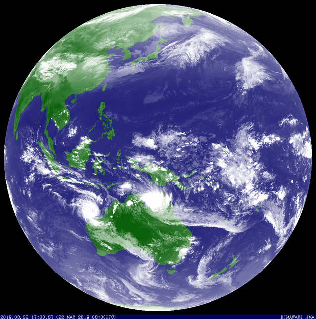Colorized satellite image showing Tropical Cyclone Veronica (left) and Tropical Cyclone Trevor over Cape York, 22 March 2019. From JMA