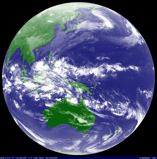 Colourised satellite image showing TC Kimi off far north Queensland and TC Joshua in the Indian Ocean. Image from JMA.