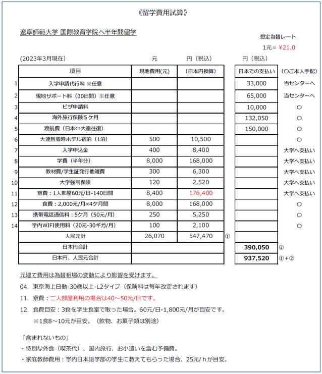 中国北京大連上海留学 留学費用見積 半年間見積