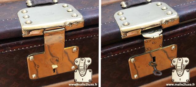 Serrure extractable Louis Vuitton 5 gorges malle a tiroir