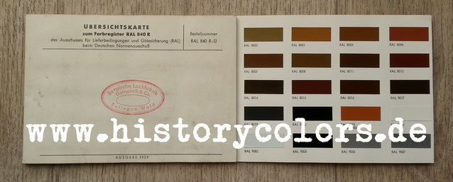 Übersichtskarte zum Farbtonregister RAL 840 R RAL 840 R - Ü