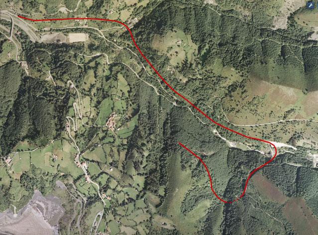 1997-2003 En rojo el trazado aproximado