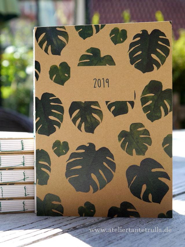 Kalender Monstera Wochenplaner 2019 DIN A6 für Traveler's Notebooks www.ateliertantetrulla.de