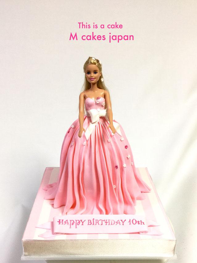 ドレスケーキ🎀 #ドレス #プリーツスカート #ピンク #女の子 #誕生日ケーキ #cake #pleatedskirt #kawaii #pink #fondantcake