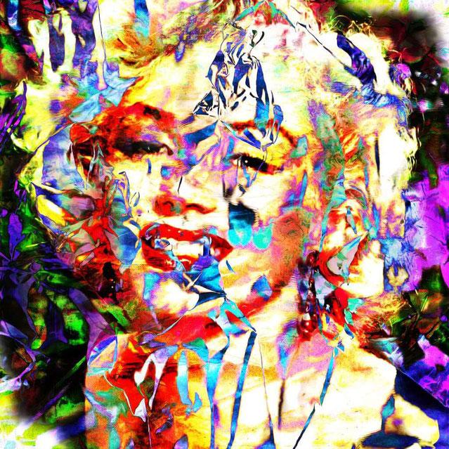 """""""Percutante Marilyn"""" (2015) de Moa Daliendog - Technique mixte sur panneau de bois - 80 cm x 80 cm - 1 900 €"""