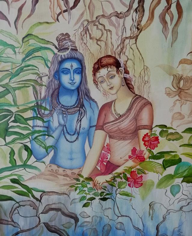 Hindu Gott Shiva und seine Frau Parvati, 50 x 60 cm, Öl auf Leinwand