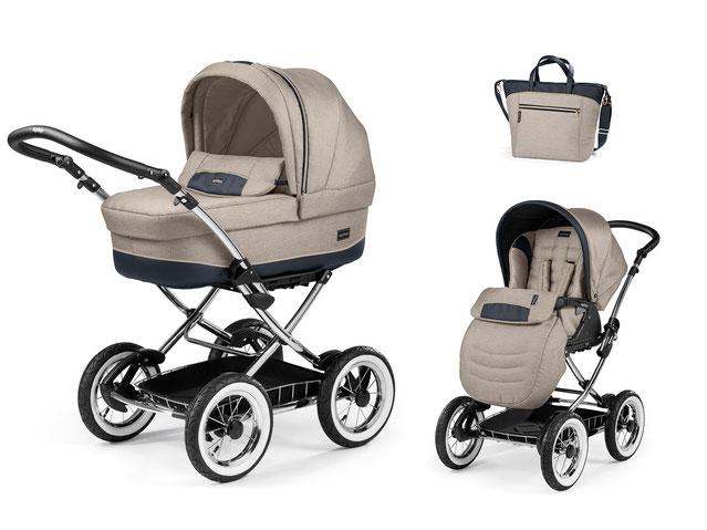 Kinderwagen Culla Elite übersicht dessin luxe beige gestell chrom