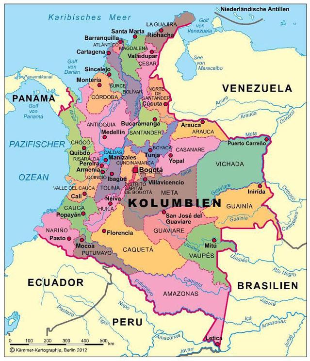 Karte Kolumbien Regionen Departamentos Reisen