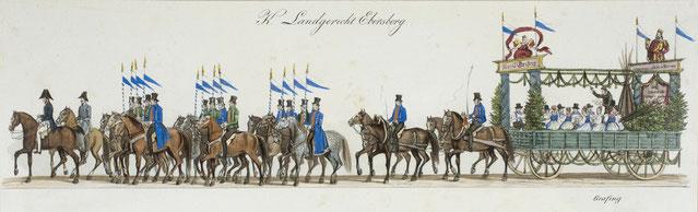 Ausschnitt einer Lithographie von Gustav Kraus aus dem 1835 Oktoberfest-Festzug Zyklus