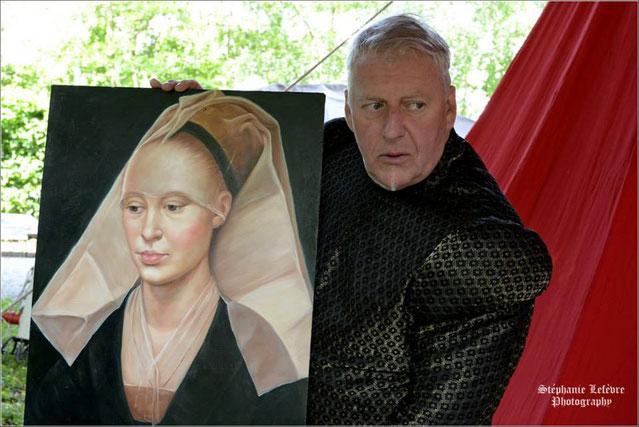 Reproduction d'une peinture du XVème siècle, costume homme: doublet à maheutres en brocart de soie