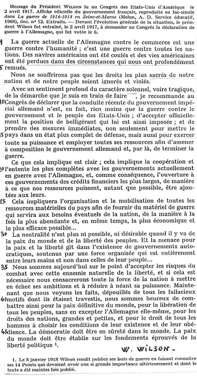 Document 2 a_ Le discours du président Wilson au Congrès le 2 avril 1917 pour demander le vote de l'entrée en guerre des Etats-Unis. Collection de textes historiques Chaulanges