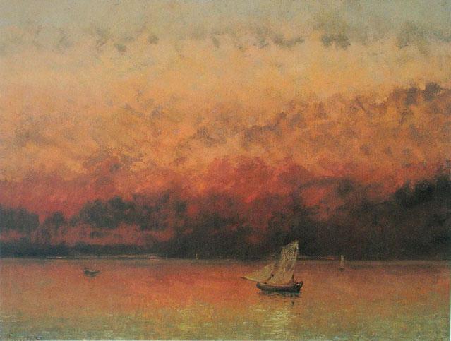 """G. Courbet, """"Il lago di Ginevra al tramonto"""" (1867)"""