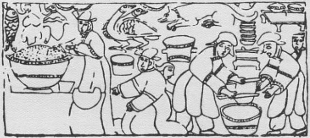 Cuisine. Henri Maspero (1883-1945) : La vie privée en Chine à l'époque des Han. — Conférence au musée Guimet, le 29 mars 1931. Parution dans la Revue des Arts Asiatiques, Paris, 1932, tome VII, pages 185-201.