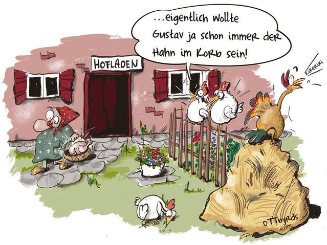 rooster gockelträume, brathänchen, hofladen, landleben,gockel, hahn, roosterdream, ottbyrds, cartoon