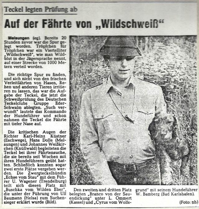 Bereits in jungen Jahren habe ich erfolgreich mit der Führung und Zucht begonnen. Artikel aus der Hessisch Niedersächsischen Allgemeinen, 1985