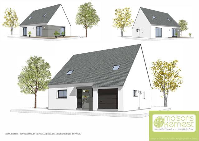 perspective maison traditionnelle bretonne avec toit double pans en ardoises