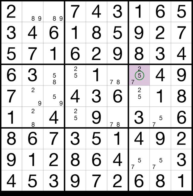 Sudoku Lösungsstrategie Drittes Auge© Martin Simon