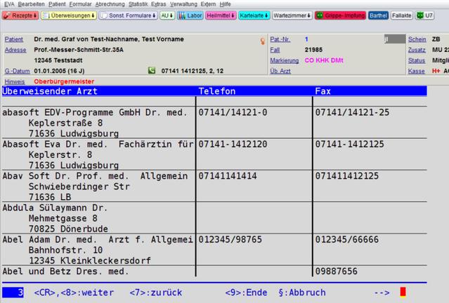 Arztsuche Überweisender Arzt Praxissoftware Telefonnummern Workflow Praxisablauf