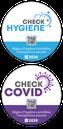 Stickers check-hygiène et check-covid avec QR-Code pour vitrine