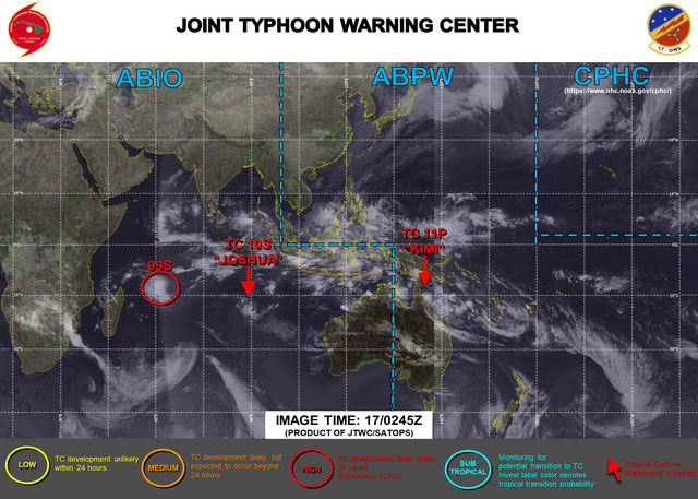 Current Tropical Cyclones in the southern hemisphere 17/01/2021. From JTWC