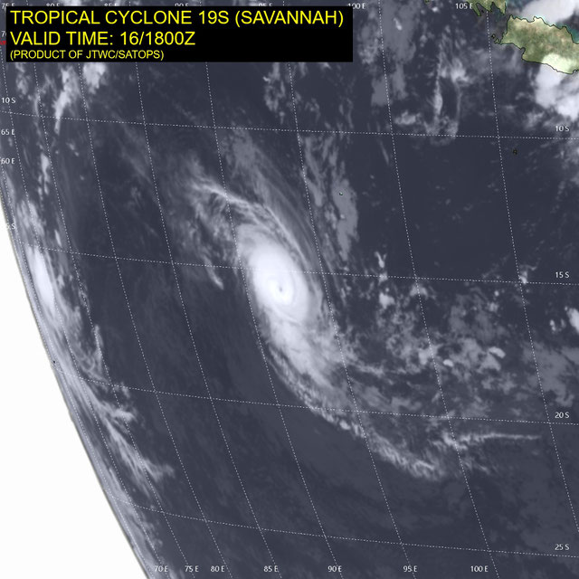 infrared satellite image of Severe Tropical Cyclone Savannah. From JTWC.