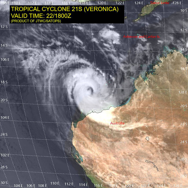 Infrared satellite image of Tropical Cyclone Veronica. From JTWC.