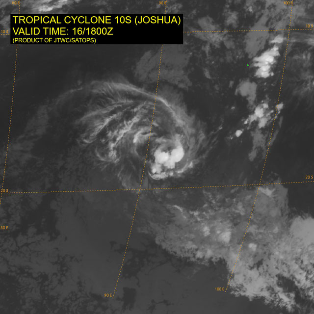 Infrared satellite image of Tropical Cyclone Joshua in the Indian Ocean, near Cocos Islands 16/01/2021. From JTWC