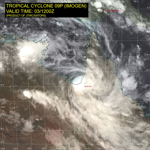 Infrared satellite image of Tropical Cyclone Imogen making landfall on the south coast of the Gulf of Carpentaria, Australia 04/01/2021. Image from JTWC