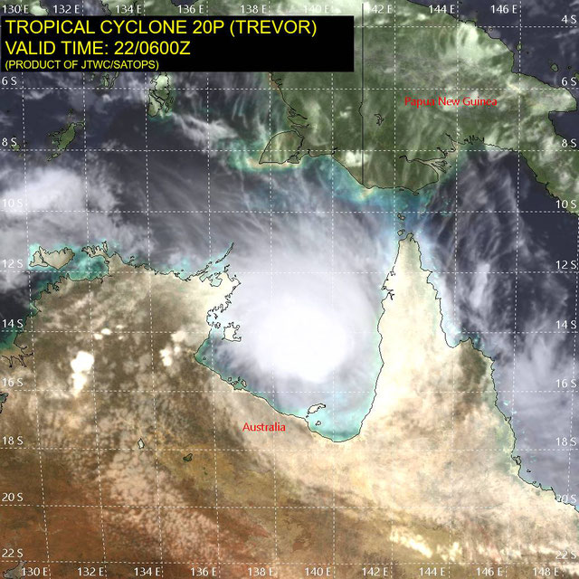 Infrared satellite image of Tropical Cyclone Trevor developing in the Coral Sea 22 March 2019. From JTWC.