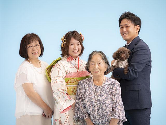 犬 家族写真 スタジオ夢物語札幌