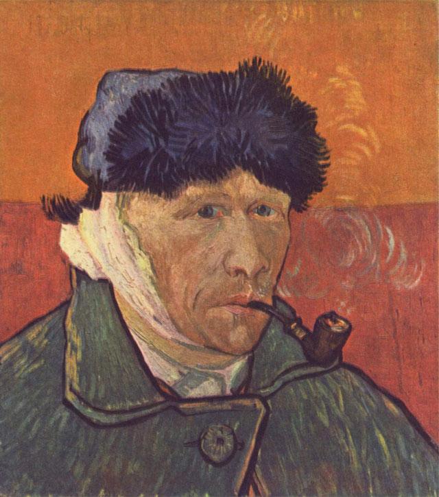 「パイプをくわえ耳に包帯をした自画像」(1889年)