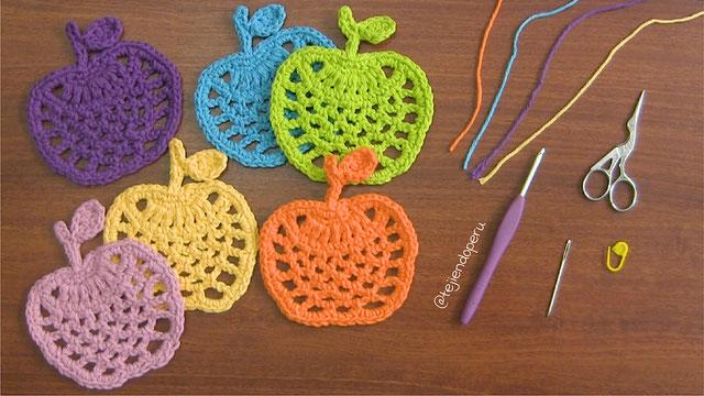 Manzanas posavasos y más tejidas a crochet