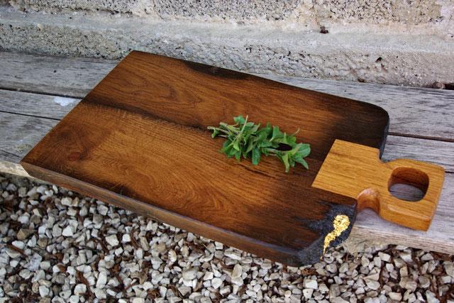 wunderschönes, edles Servierbrett aus antikem Holz und Blattgold, Servierbrett Holz, Servierbretter Holz