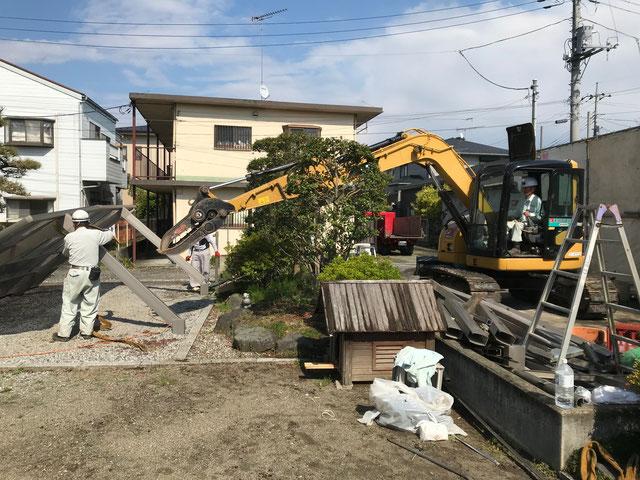 栃木県のバルコニー菜園のある家の家づくりの様子/解体の工事